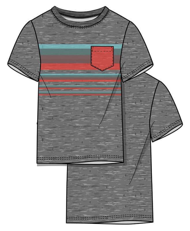 Graphic-pocket tee