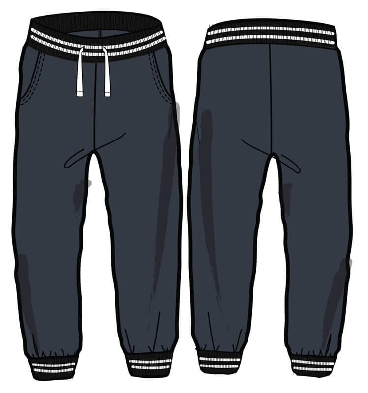 Fleece banded pant with tipping