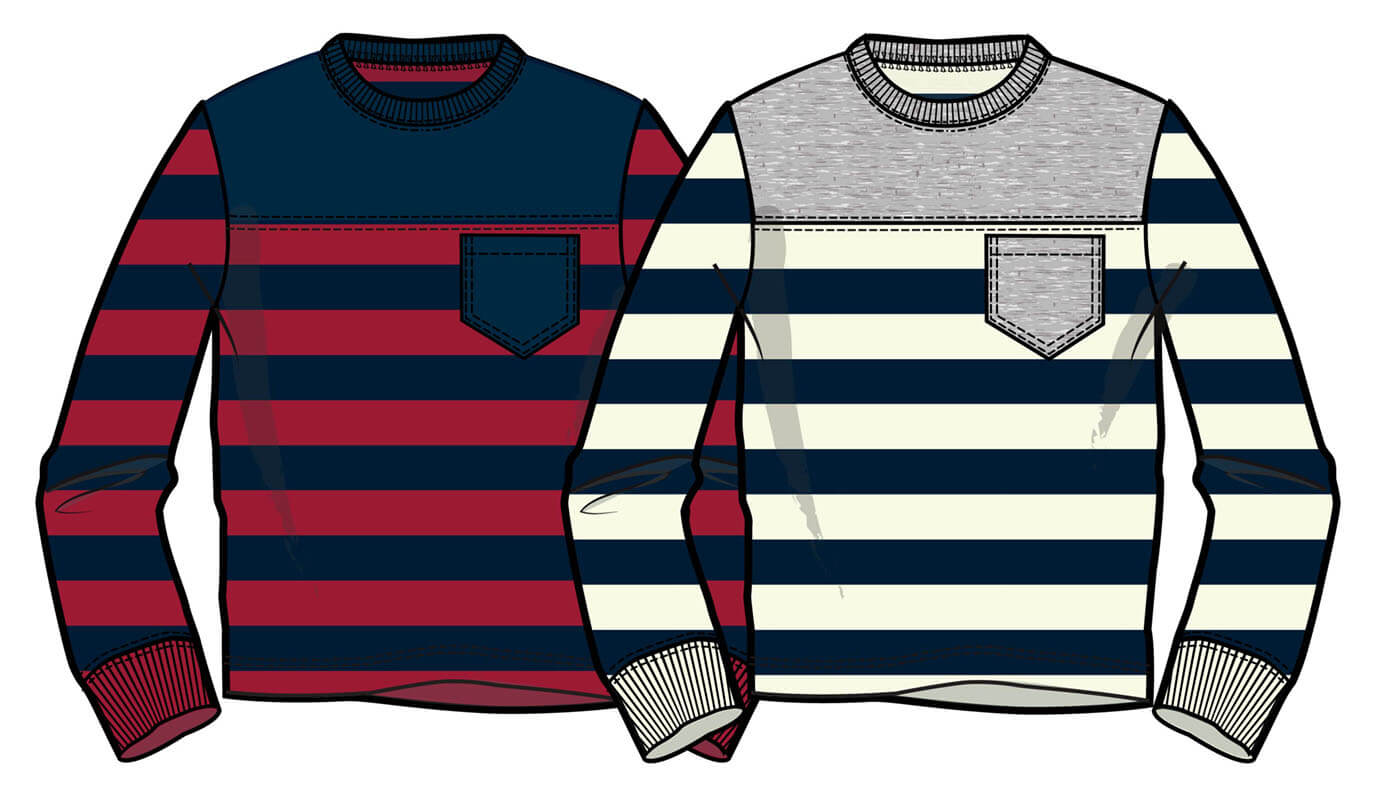 Stripe Color block LS tee