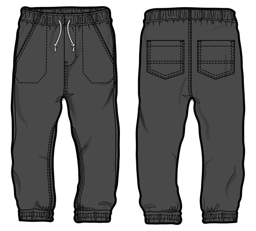 Banded twill pant