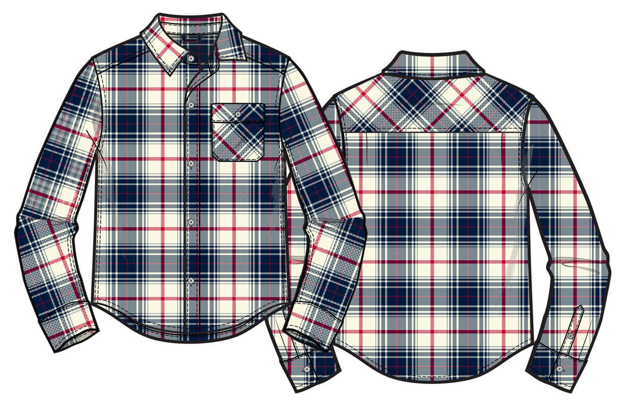 Long sleeve  woven plaid