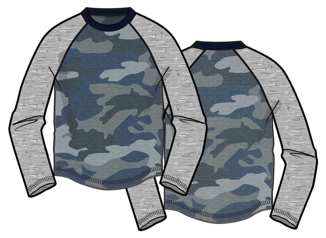Heathered raglan long sleeve top. (water base print)