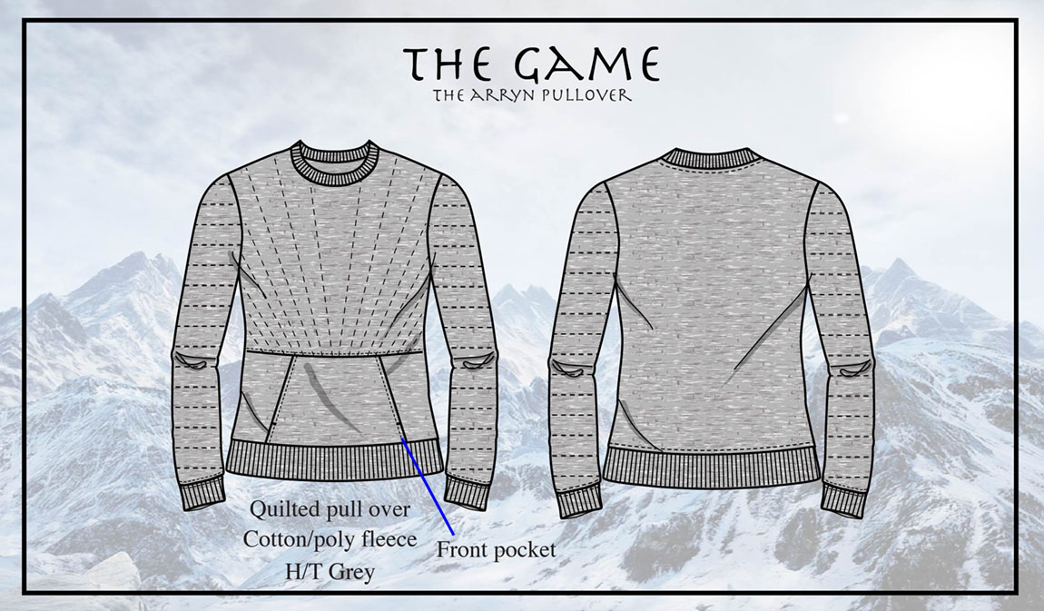 The Ayyrn pullover is a comfortable quilted fleece sweatshirt inspired by The Game of Thrones.  By using elements from a 15th century fencing costume, this updated quilting detail creates texture and depth to the garment. When combining this classic detail with a sportswear fabrication it brings a fresh cool look to the athleisure trend.