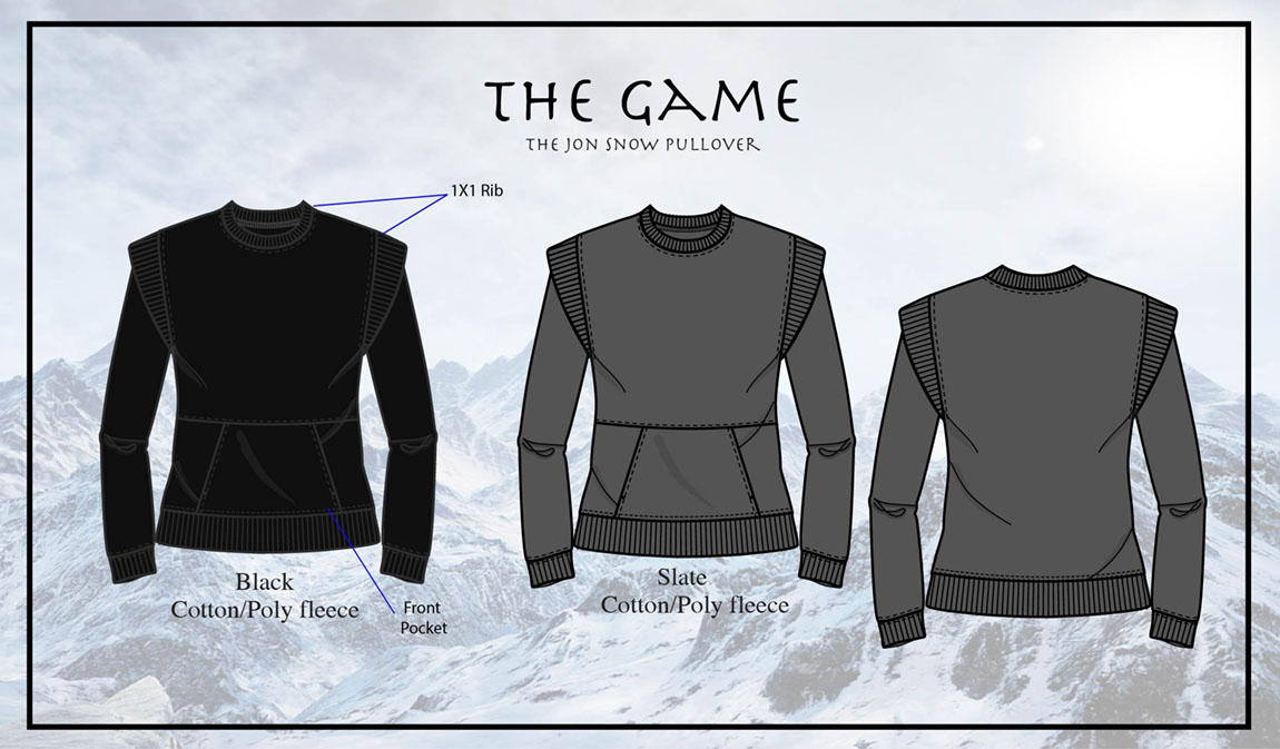 The Jon Snow pullover is a comfortable and edgy fleece sweatshirt inspired by The Game of Thrones. By accentuating the broad shoulders with a rib detail and hang down sleeves, this garment mimics a typical men's costume from the 15th century.