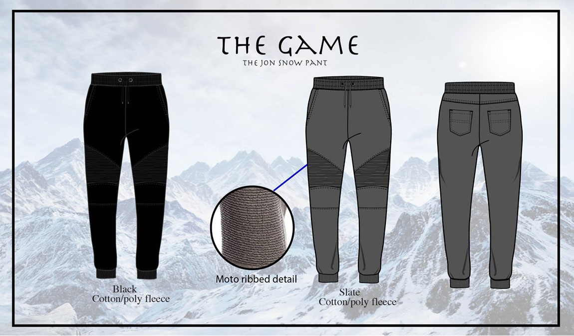 The Jon Snow Pant is a comfortable and edgy skinny jogger.  The ribbed moto piecing adds texture and depth, creating a rugged and masculine outlook. There are 2 functional front pockets as well as 2 back pockets.   These pants are versatile and can be worn as dressy casual or paired with the Jon Snow Pullover.
